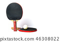 Two table tennis rackets and a ball isolated 46308022