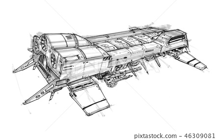 Ink Concept Art Drawing of Futuristic SpaceShip 46309081