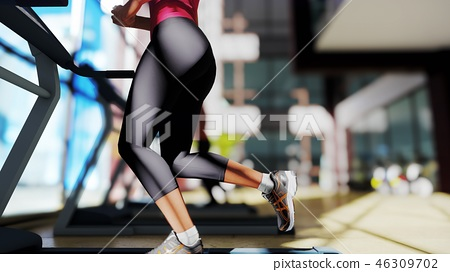 Gym with different exercise machines in it and a beautiful girl running on the treadmill. 3D 46309702