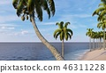 Palms on the tropical beach 3d rendering 46311228