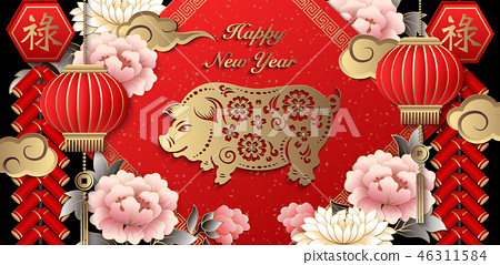 Happy Chinese new year relief pattern template 46311584