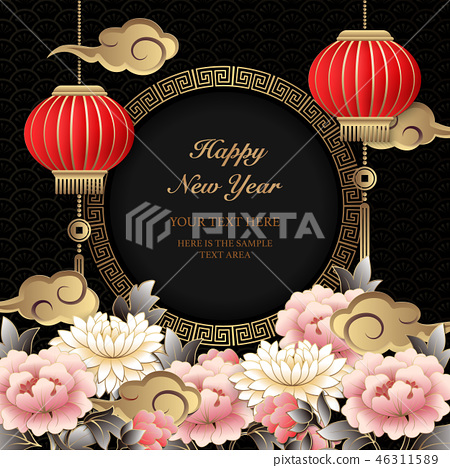 Happy Chinese new year relief pattern template 46311589
