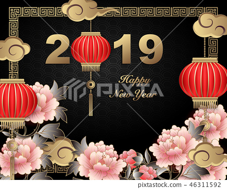 Happy Chinese new year relief pattern template 46311592