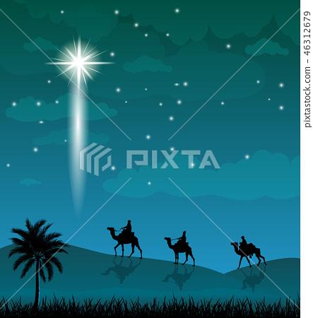 Camel riders, shining star in the night sky 46312679