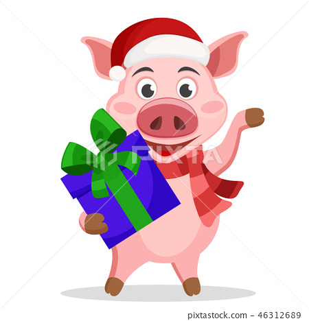 Pig in hat and scarf holding gift box and waving 46312689