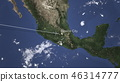 Route of a commercial plane flying to Mexico City, Mexico on the map. 3D rendering 46314777
