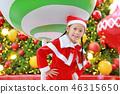 Happy cute Asian child girl in Santa costume 46315650
