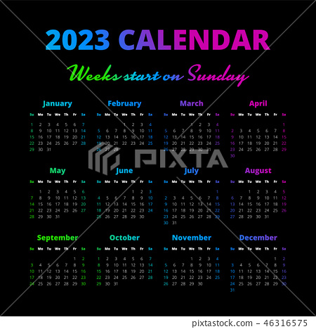 2023 2022 Calendar.Simple 2023 Year Calendar Weeks Start On Sunday Stock Illustration 46316575 Pixta