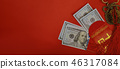 Chinese new year and US dollar money red packet 46317084