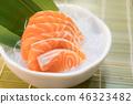 Raw salmon slice or salmon sashimi 46323482