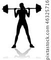 Gym Woman Silhouette Barbell Weights 46325716