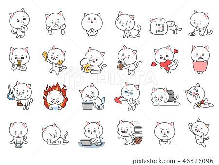 Set of Cartoon Cute Cat Character. 46326096
