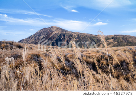 日本 九州 阿蘇 火山 芒草 熊本 aso mountain volcano 46327978