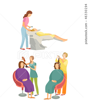 Spa Salon Hairdressers Hair Styling Set Vector 46330194