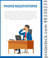 Phone Negotiations Vector Poster. Boss Leader 46330233
