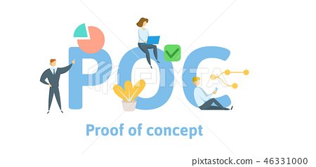 POC, Proof of concept. Concept with keywords, letters, and icons. Flat vector illustration. Isolated 46331000