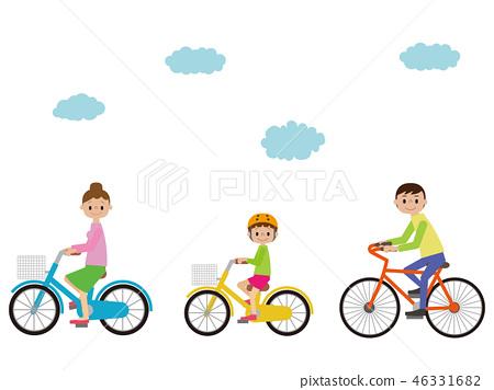 父母骑自行车 46331682