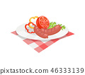 BBQ Set, Sausage for Barbecue on Plate Vector Icon 46333139