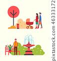 family, stroll, vector 46333172