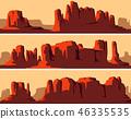 Banner of wild west desert area with rocks. 46335535
