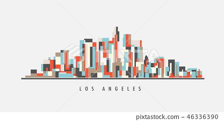 Los Angeles Downtown Geometric Art 46336390