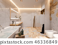 Interior design of a bathroom, 3d illustration in a Scandinavian s 46336849