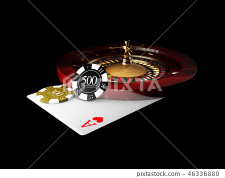 Playing card and poker chips casino. Casino roulette concept on black background. 3d illustration. 46336880