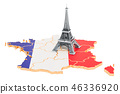 Map of France with Eiffel Tower, 3D rendering 46336920