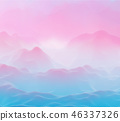 Abstract futuristic 3D mountains landscape on alien planet. 46337326