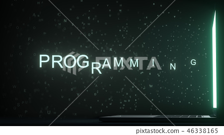 PROGRAMMING text appearing near laptop screen. Conceptual 3D rendering 46338165
