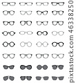 Black silhouettes of different eyeglasses 46338250