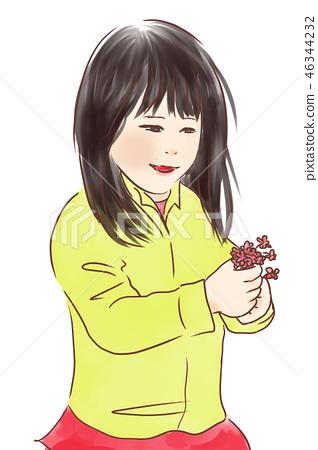 Girl picking flowers 46344232