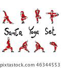 Santa Claus doing yoga set vector illustration 46344553