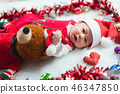 portrait of cute baby in christmas concept 46347850