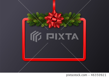 Greeting card with red frame, fir garland and bow 46350921