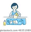 家務,女人洗碗,藍色 46351089