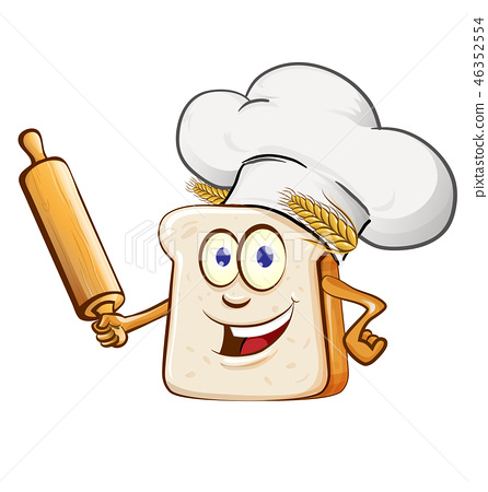 bread chef with rollin pin cartoon 46352554