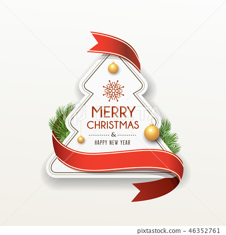 Merry Christmas paper red ribbon label design 46352761