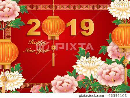 Happy Chinese new year retro relief pattern 46353108