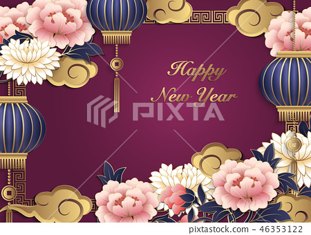 Happy Chinese new year retro relief pattern 46353122
