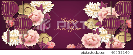 Happy Chinese new year retro relief pattern 46353140