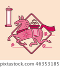 Simple graphic of Chinese zodiac horse 46353185