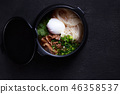 Japanese ramen soup with chicken, egg and chives 46358537