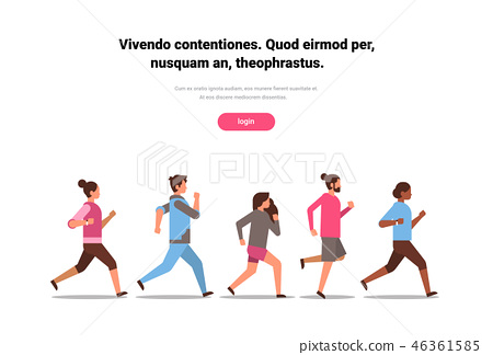 mix race people jogging active sport men women fitness run training world health day concept healthy 46361585