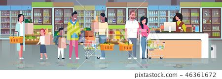 retail woman cashier at checkout supermarket mix race customers holding basket with food standing 46361672