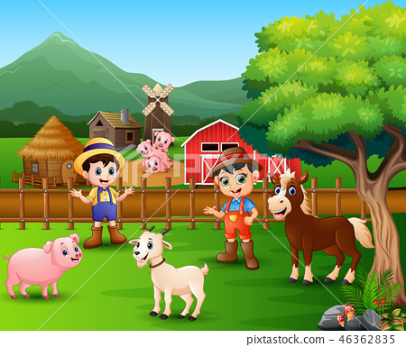 Farm scenes with different animals and farmers 46362835
