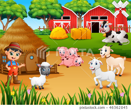 Farmer and farm animal in the farmyard 46362845