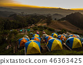 tent in the sunset overlooking mountains 46363425