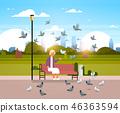 senior woman feeding flock of pigeon sitting wooden bench urban city park cityscape background 46363594