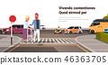 man help senior woman with walking frame crossing street urban city traffic cars on road crosswalk 46363705